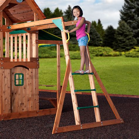 backyard playsets with monkey bars saratoga wooden swing set playsets backyard discovery