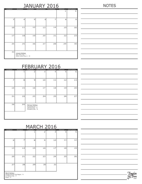 Three Month Calendar Template 3 month calendar 2016