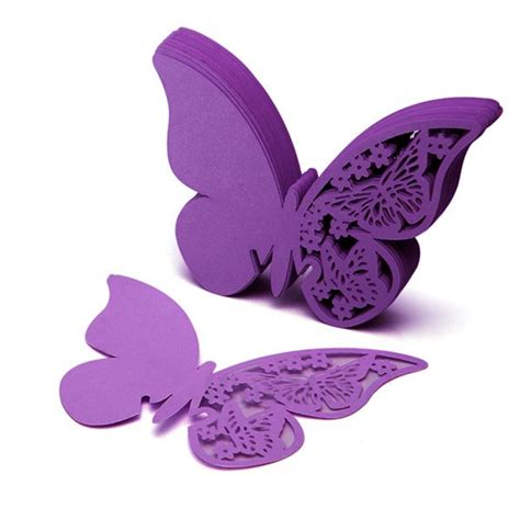 Butterfly Paper Place Card Lavender Isi 12 Pcs 50pcs butterfly place wine glass cup paper card for