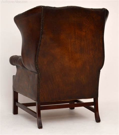 leather winged armchair antique deep buttoned leather wing armchair antiques atlas