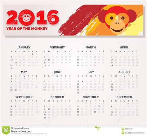 calendar 2016 free year of monkey calendar 2016 year of the monkey stock illustration