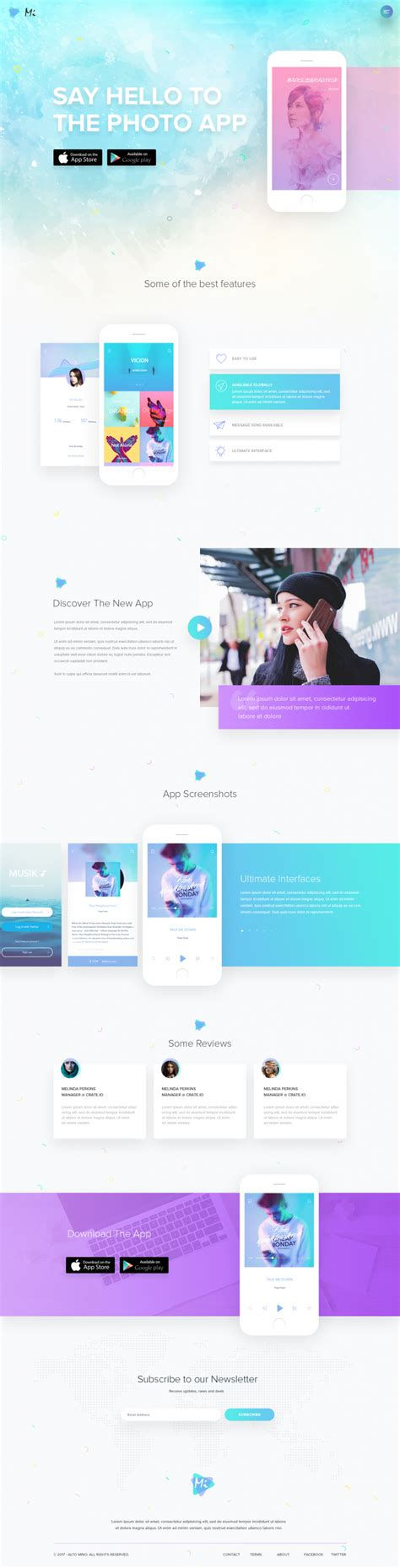 page app mobile mobile app landing page on inspirationde