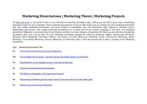 mba marketing dissertation topics marketing dissertations