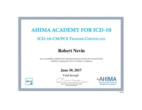 Mba Essentials Certificate by Ahima Approved Icd 10 Cmpcs Trainer Certificate