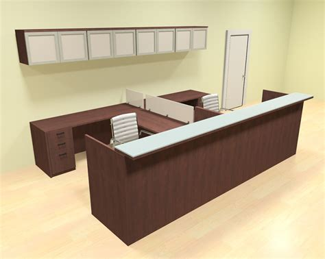 12pc 12 u shaped glass counter reception desk set