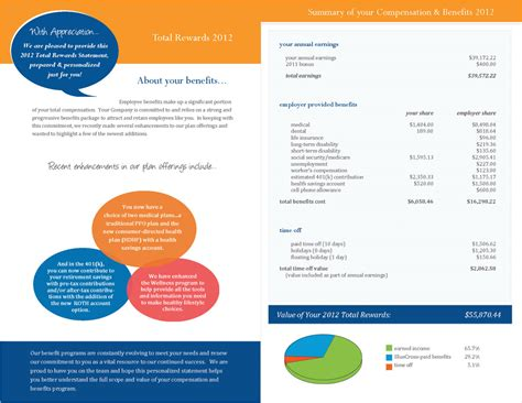compensation summary template free total compensation statement templates go