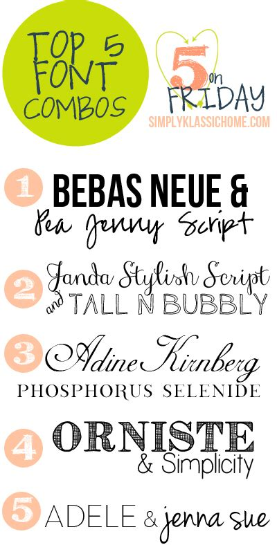 top five font combinations five on friday yellow bliss road