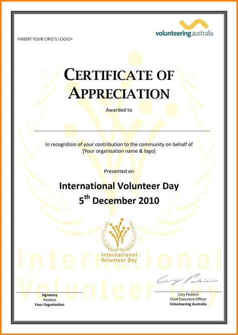 volunteer certificate of appreciation template 6 volunteer certificates templates meal plan spreadsheet