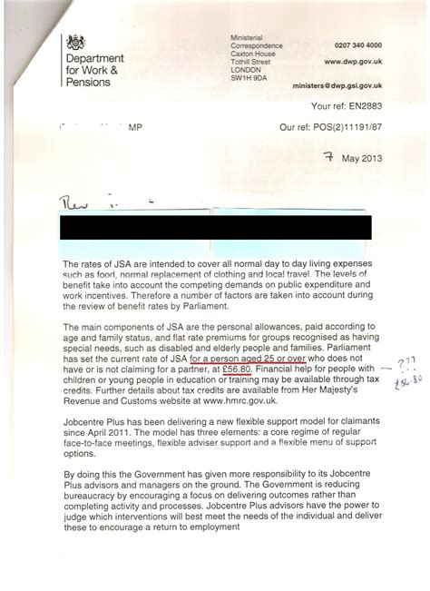 Proof Of Jsa Letter dwp minister hoban gets jsa amount wrong and jobseeking