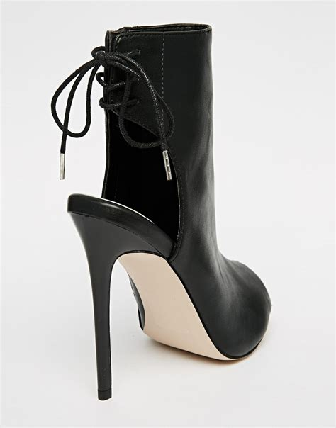 asos east town peep toe shoe boots in black lyst