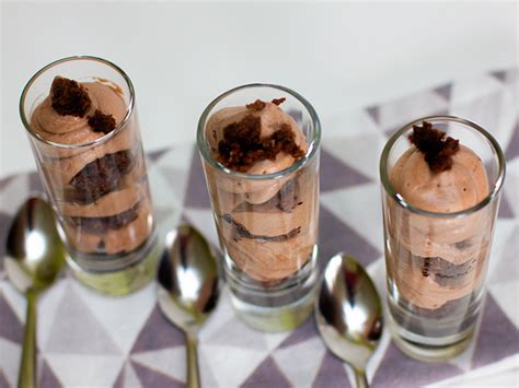 chocolate mousse and brownie shot glass dessert mousse