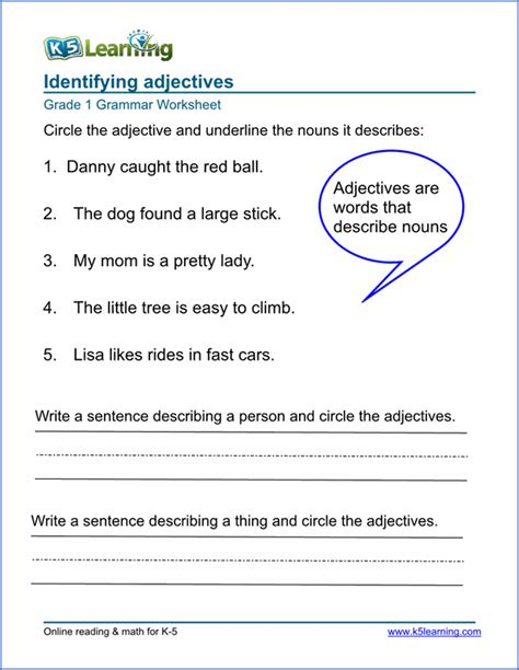 adjective worksheets for elementary printable