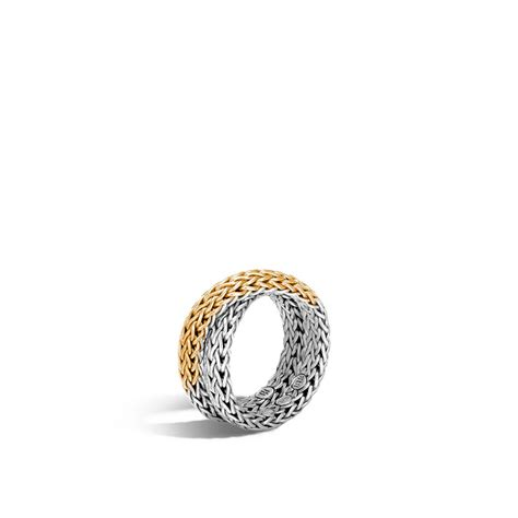 Chain Silver Ring classic chain overlap ring in silver and 18k gold