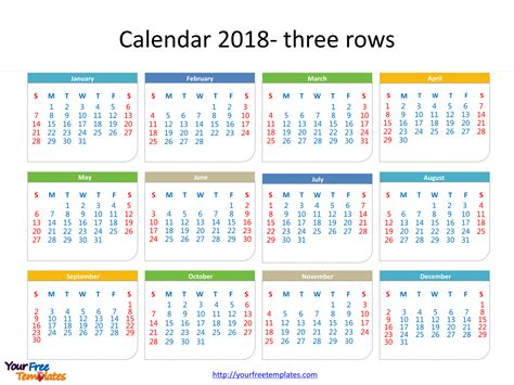 Calendar Dates 2018 Printable Calendar 2018 Free Powerpoint Templates
