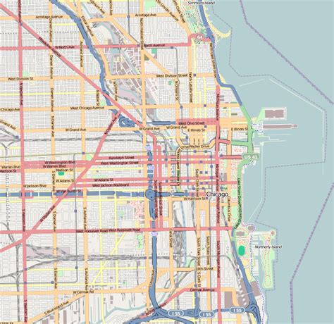 chicago highway names map file chicago central map png wikimedia commons