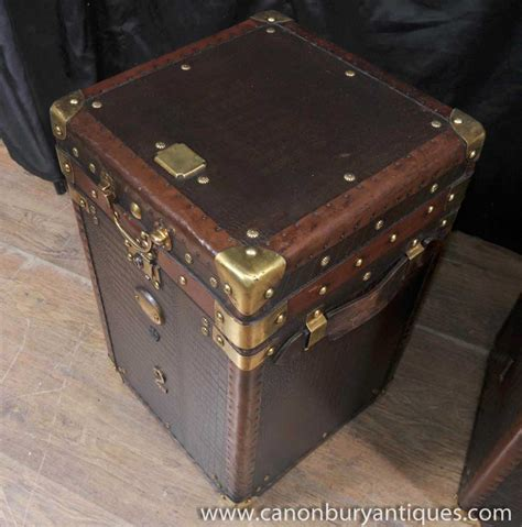 Trunk Side Table Pair Luggage Trunk Side Tables Leather Box Coffee Table