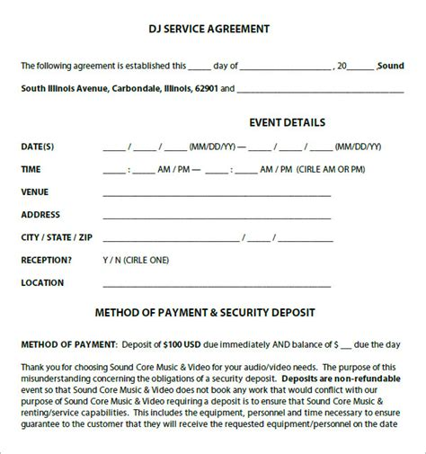 Dj Contract 12 Download Documents In Pdf Dj Service Contract Template
