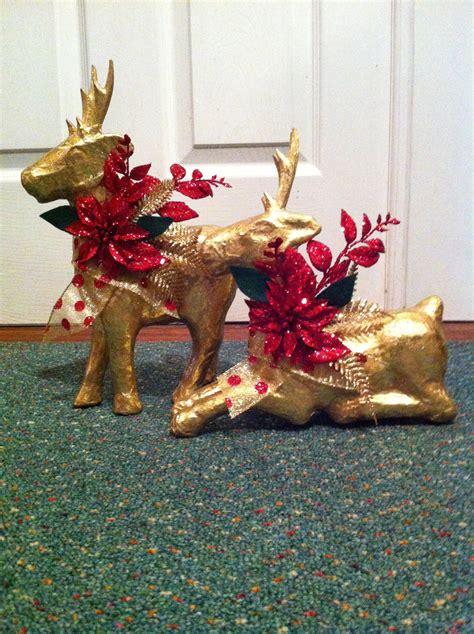 paper mache christmas reindeer by 2creativegirls on etsy