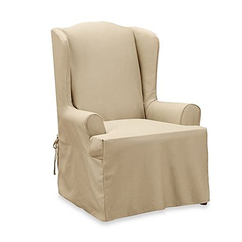 sure fit twill supreme chair slipcover buy sure fit 174 twill supreme wing chair slipcover from bed