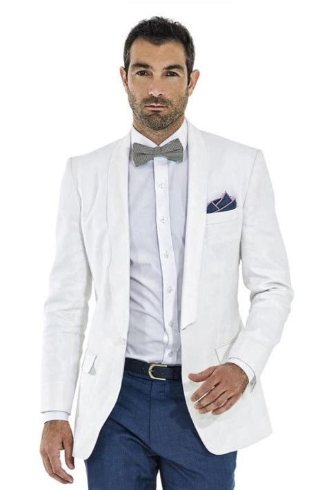 Real Casual Linen Suits Summer White Shawl Lapel Men Wedding Suits Grooms Tuxedos Men Suits Slim