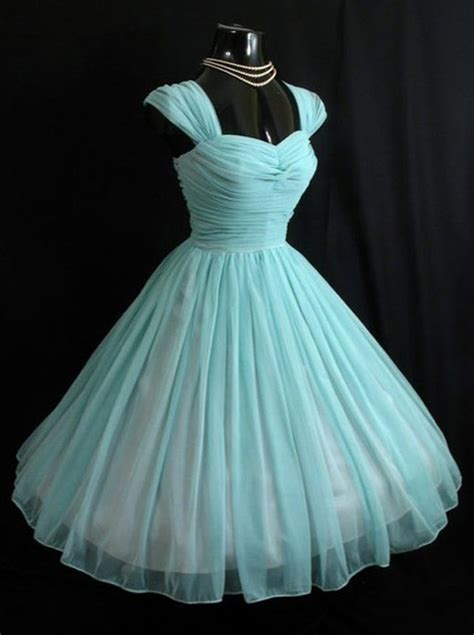 Blue Sky Quinze Dress vintage sweetheart turquoise 50s chiffon cap sleeves
