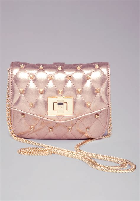 lyst bebe ava quilted mini crossbody bag  pink