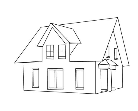 a coloring page of a house house coloring pages
