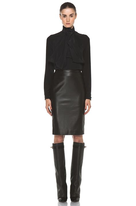 Side Slide Pencil Skirt givenchy leather front pencil skirt in black fwrd