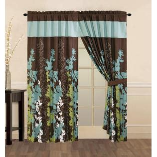 Brown And Teal Curtains Legacy Decor Teal Green Brown And White Floral Print Window Curtain Drape Set With Valance