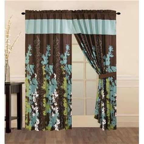 Teal And Brown Valance Legacy Decor Teal Green Brown And White Floral Print