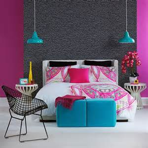 pink and blue bedroom decorating with bright colours