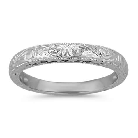 White Gold Wedding Band by Product Details Shaneco