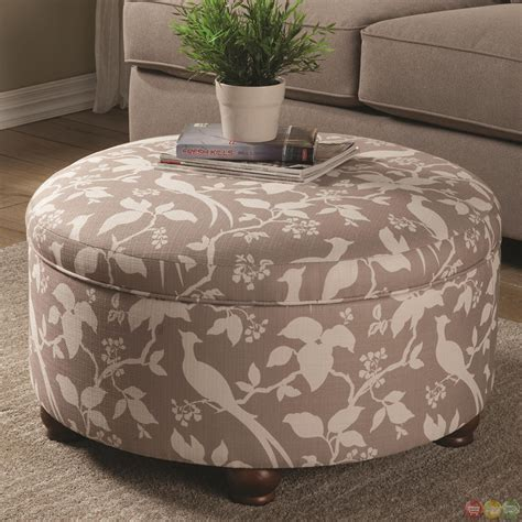 Printed Storage Ottoman Muted Tone Printed Upholstery Storage Ottoman