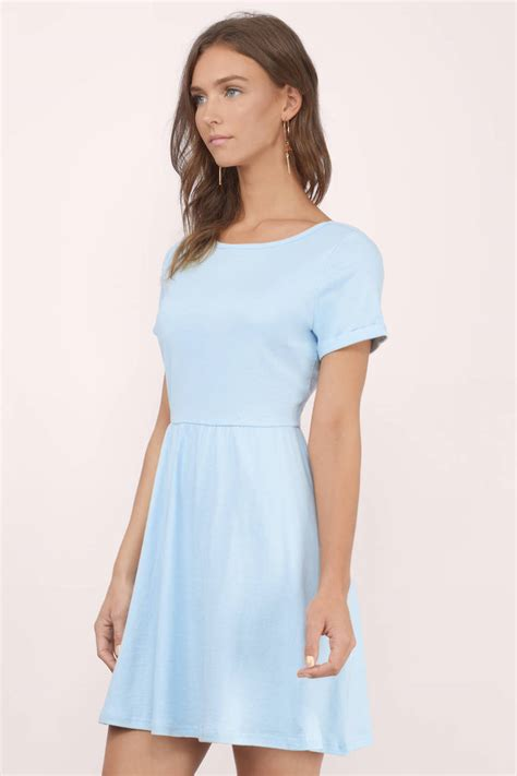 Light Blue Skater Dress by Light Blue Skater Dress Above The Knee Dress