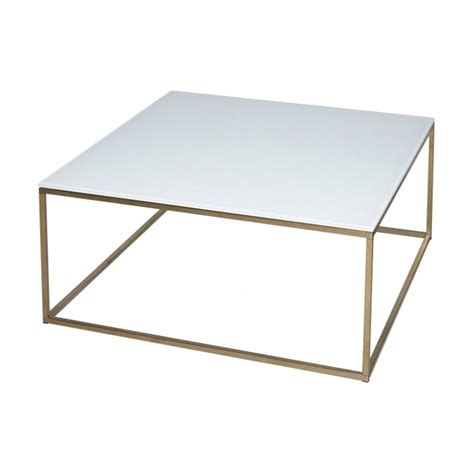 Square Metal Coffee Table Buy White Glass And Gold Metal Square Coffee Table From Fusion Living