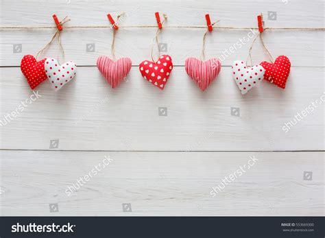 Handmade Hearts - background sewed pillow diy handmade stock photo