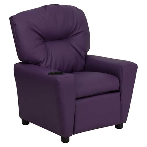 childs reclining chair upholstered kids recliner chair cup holder purple dcg