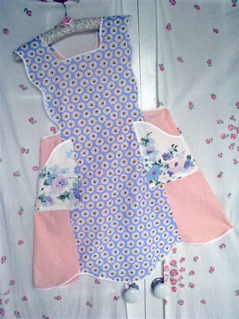 new full feedsack pink lavender apron vintage fabrics