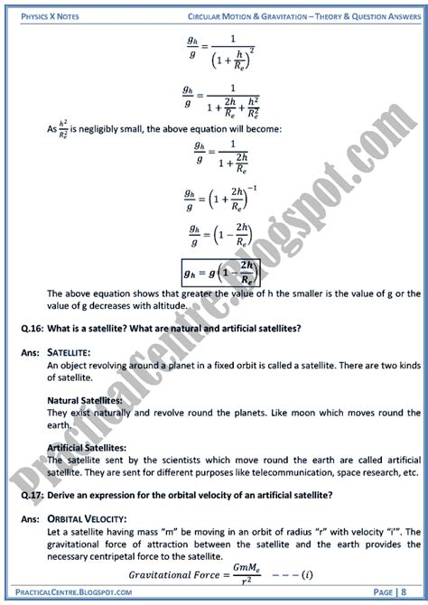 Practical Centre Circular Motion And Gravitation Theory