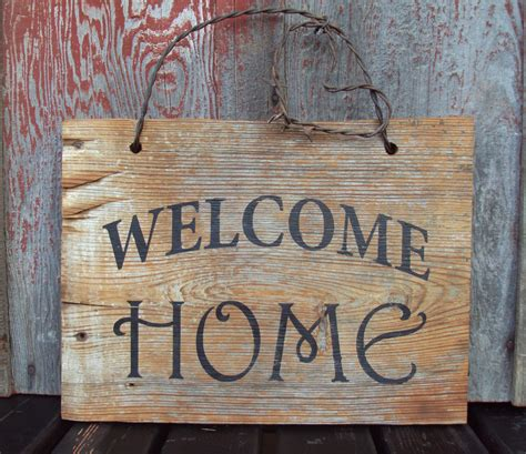 wooden home signs decor barn wood welcome home sign hand painted rustic wall decor