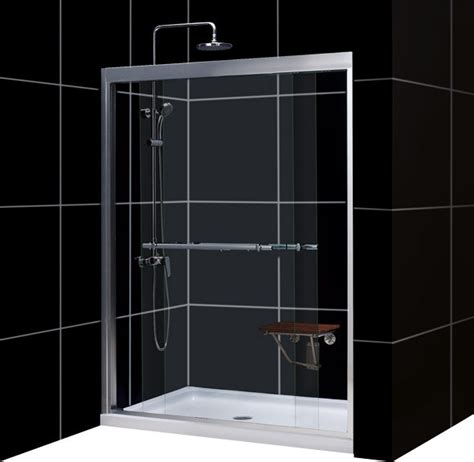 Dreamline Shower Door Parts Dreamline Duet Frameless Bypass Sliding Shower Door And Slimline 36 Quot Contemporary Tub And
