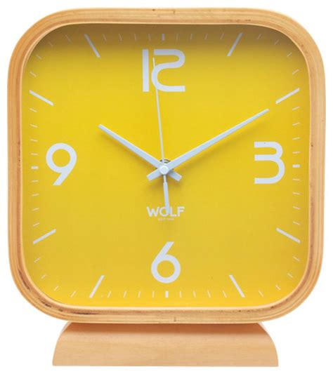 8 5 Quot Square Mantel Clock Yellow Modern Desk And Modern Desk Clocks