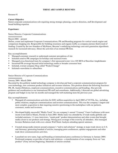 Resume Objective by Resume Objective Exles Resume Cv