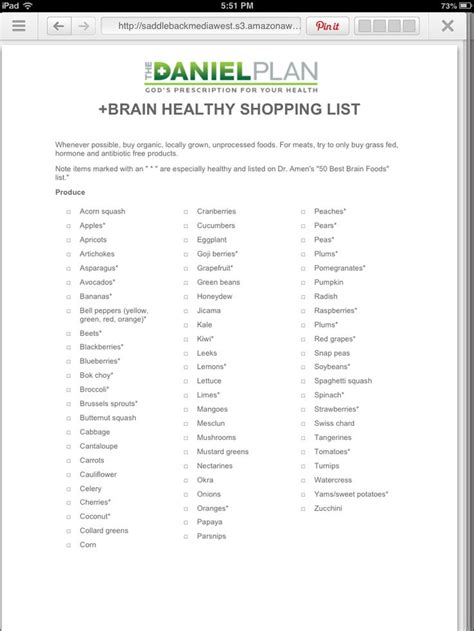 Daniel Plan 10 Day Detox Menu by Shopping List For The Daniel Plan Vegan Recipes