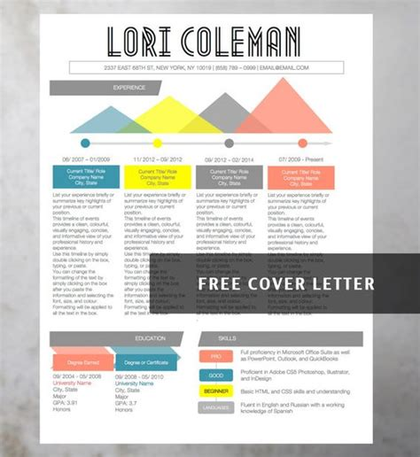 infographic cover letter infographic creative colorful resume collection 4 resume