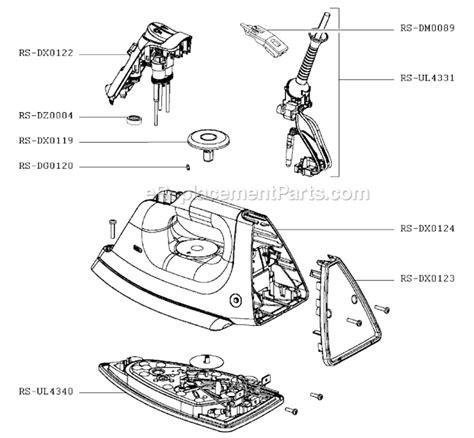 rowenta iron parts diagram rowenta dx8750u1 parts list and diagram