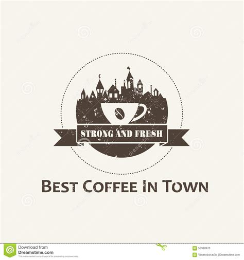 Town Coffee coffee cup with town background label stock vector image