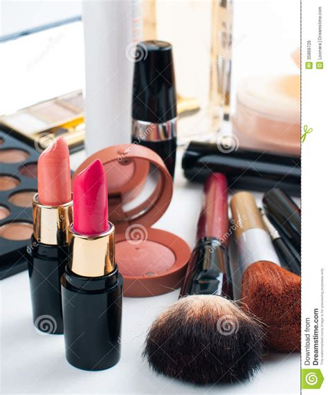 Lipstick Palette Makeover makeup and cosmetics set stock photo image of