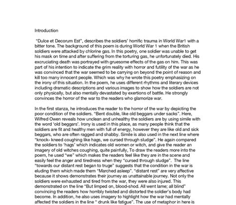 Wilfred Owen Essay by Essay Language Features Dulce Et Decorum Est