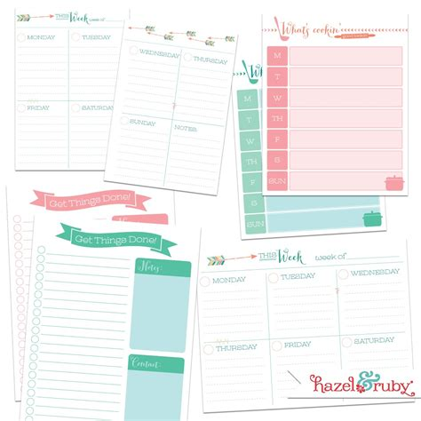 free printable planner inserts a5 6 best images of free printable weekly planner inserts